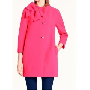 Kate Spade Pink Bow Peacoat Jacket